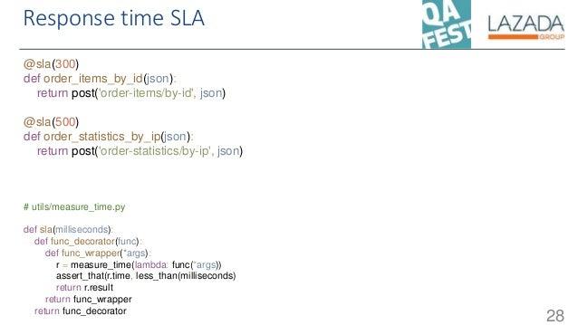 Response time SLA 28 @sla(300) def order_items_by_id(json): return post('order-items/by-id', json) @sla(500) def order_sta...