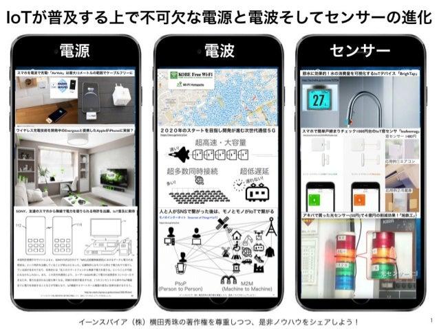 イーンスパイア(株)横田秀珠の著作権を尊重しつつ、是非ノウハウをシェアしよう! 1 IoTが普及する上で不可欠な電源と電波そしてセンサーの進化 電源 電波 センサー