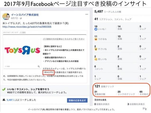 1イーンスパイア(株) 横田秀珠の著作権を尊重しつつ、是非ノウハウはシェアして行きましょう。 2017年9月Facebookページ注目すべき投稿のインサイト