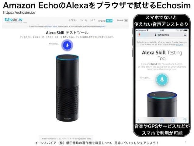 Amazon EchoのAlexaをブラウザで試せるEchosim イーンスパイア(株)横田秀珠の著作権を尊重しつつ、是非ノウハウをシェアしよう! 1 https://echosim.io/ スマホでないと 使えない音声アシストあり 音楽やGP...