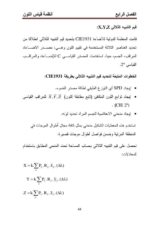 الرابع الفصلأنظماللون قياس ة 33 16 1976 CIE L*, a*, b* CIE L*, a*, b* CIELAB17)