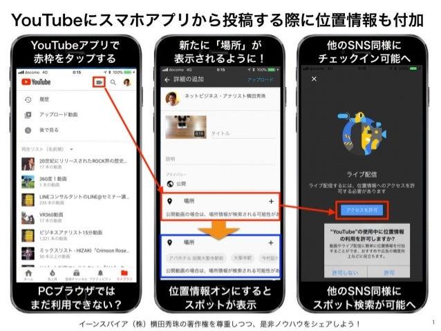 イーンスパイア(株)横田秀珠の著作権を尊重しつつ、是非ノウハウをシェアしよう! 1 YouTubeにスマホアプリから投稿する際に位置情報も付加 YouTubeアプリで 赤枠をタップする PCブラウザでは まだ利用できない? 新たに「場所」が 表...