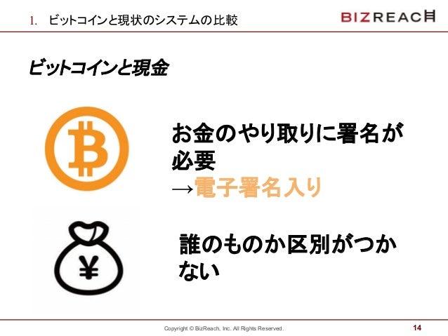 Copyright © BizReach, Inc. All Rights Reserved. 1. ビットコインと現状のシステムの比較 ビットコインと現金 14 お金のやり取りに署名が 必要 →電子署名入り ` 誰のものか区別がつか ない