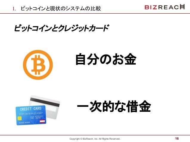 Copyright © BizReach, Inc. All Rights Reserved. 1. ビットコインと現状のシステムの比較 ビットコインとクレジットカード 16 自分のお金 一次的な借金