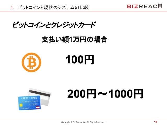 Copyright © BizReach, Inc. All Rights Reserved. 1. ビットコインと現状のシステムの比較 ビットコインとクレジットカード 18 100円 200円〜1000円 支払い額1万円の場合