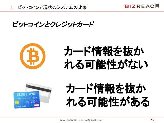 Copyright © BizReach, Inc. All Rights Reserved. 1. ビットコインと現状のシステムの比較 ビットコインとクレジットカード 19 カード情報を抜か れる可能性がない カード情報を抜か れる可能性がある