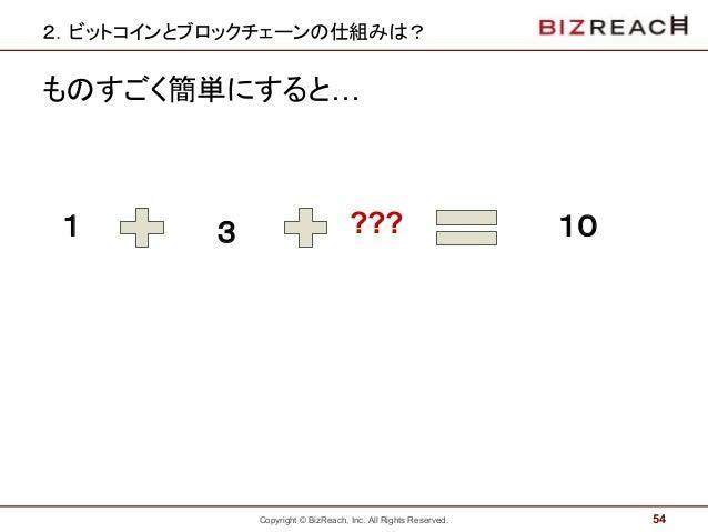 Copyright © BizReach, Inc. All Rights Reserved. 2.ビットコインとブロックチェーンの仕組みは? ものすごく簡単にすると… 54 1 3 ??? 10