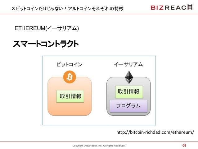 Copyright © BizReach, Inc. All Rights Reserved. 3.ビットコインだけじゃない!アルトコインそれぞれの特徴 ETHEREUM(イーサリアム) 68 スマートコントラクト http://bitcoin...