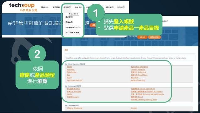 • 請先登入帳號 • 點選申請產品→產品目錄 依照 廠商或產品類型 進行瀏覽