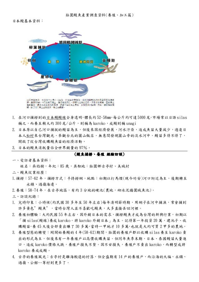 壯圍鰻魚產業調查資料(養殖、加工篇) 日本鰻基本資料: 1. 在河口捕撈到的日本鰻鰻線全身透明,體長約52-58mm,每公斤約可達5000尾,市場常以日語silas 稱之,而養至稍大約 300 尾/公斤,則稱為 karoko,成鰻則稱 unag...