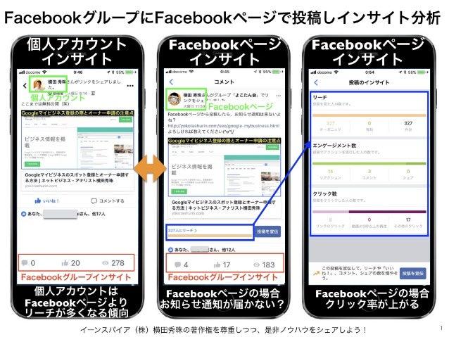 イーンスパイア(株)横田秀珠の著作権を尊重しつつ、是非ノウハウをシェアしよう! 1 FacebookグループにFacebookページで投稿しインサイト分析 Facebookページ インサイト Facebookページ インサイト 個人アカウント ...