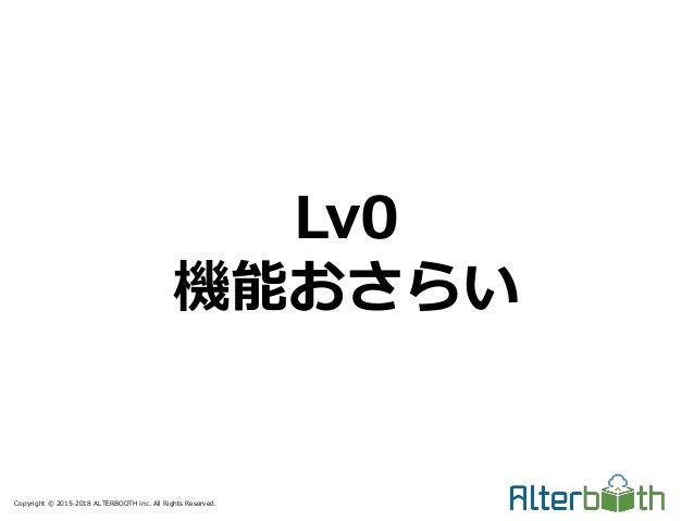 Copyright © 2015-2018 ALTERBOOTH inc. All Rights Reserved. Lv0 機能おさらい