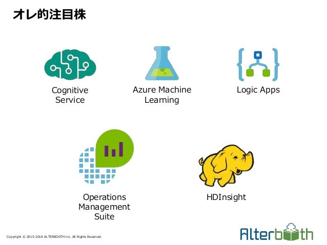 Copyright © 2015-2018 ALTERBOOTH inc. All Rights Reserved. オレ的注目株 Cognitive Service Azure Machine Learning Logic Apps Oper...