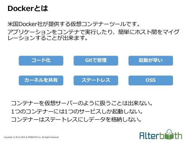 Copyright © 2015-2018 ALTERBOOTH inc. All Rights Reserved. 米国Docker社が提供する仮想コンテナーツールです。 アプリケーションをコンテナで実行したり、簡単にホスト間をマイグ レーシ...