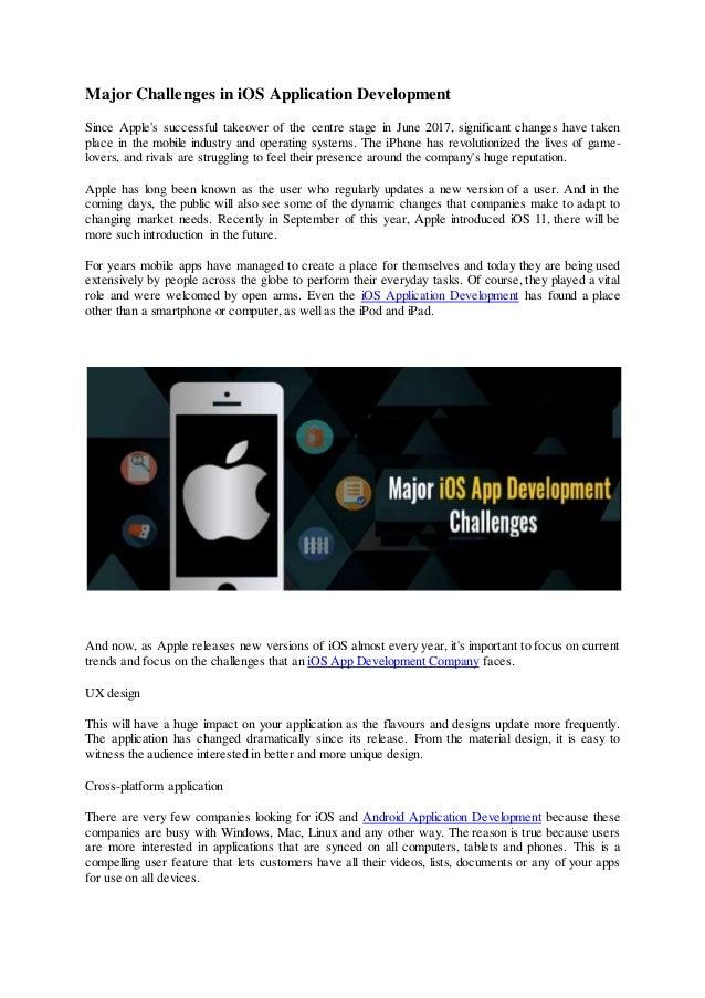 Major challenges in iOS application development