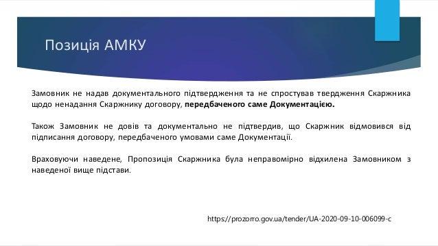 Позиція АМКУ Замовник не надав документального підтвердження та не спростував твердження Скаржника щодо ненадання Скаржник...