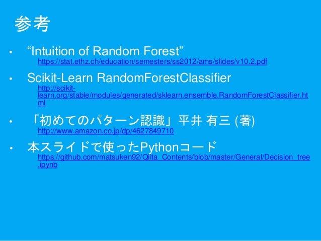 """参考 • """"Intuition of Random Forest"""" https://stat.ethz.ch/education/semesters/ss2012/ams/slides/v10.2.pdf • Scikit-Learn Rand..."""