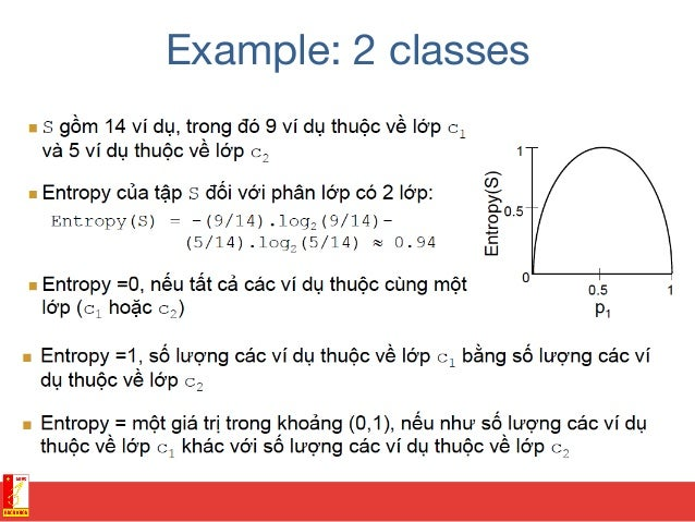 Example: Decision tree learning • Choose splitting attribute for root among {Outlook, Temperature, Humidity, Wind}? – Ga...