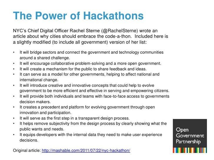The Power of Hackathons<br />NYC's Chief Digital Officer Rachel Sterne (@RachelSterne) wrote an article about why cities s...