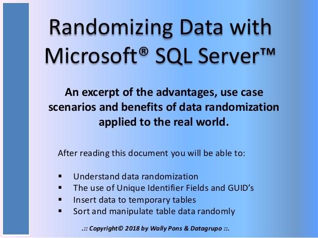 Randomizing Data With SQL Server