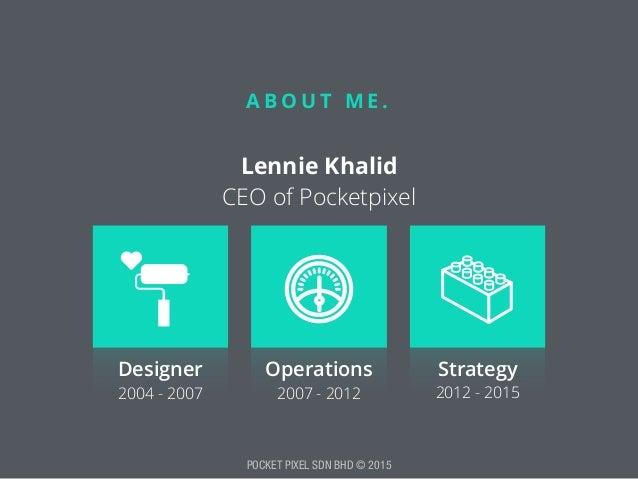 POCKET PIXEL SDN BHD © 2015 A B O U T M E . Lennie Khalid CEO of Pocketpixel Designer Operations Strategy 2004 - 2007 200...