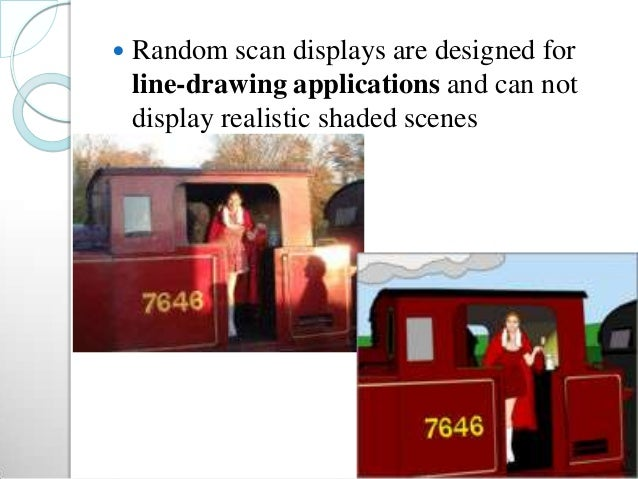  Random scan displays are designed for line-drawing applications and can not display realistic shaded scenes