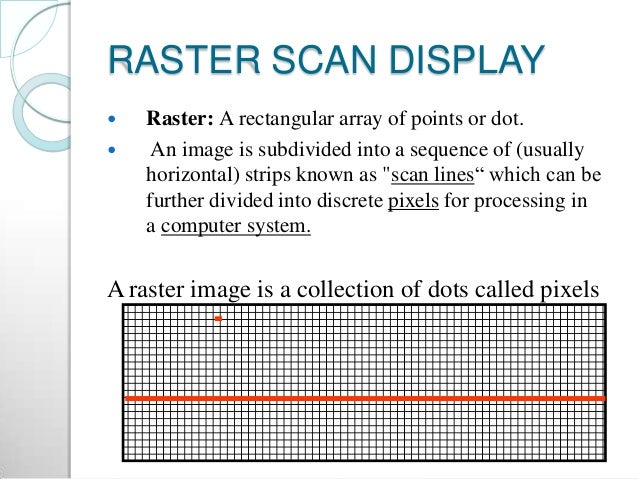 RASTER SCAN DISPLAY  Raster: A rectangular array of points or dot.  An image is subdivided into a sequence of (usually h...