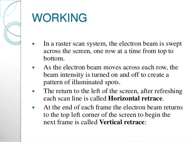 WORKING  In a raster scan system, the electron beam is swept across the screen, one row at a time from top to bottom.  A...