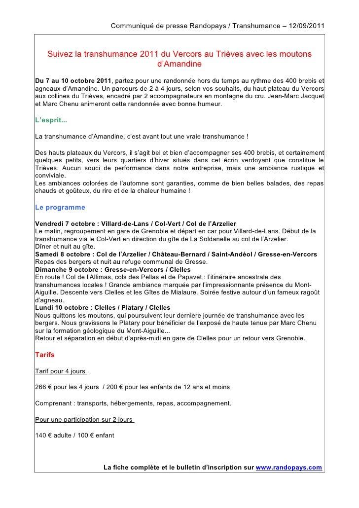 Communiqué de presse Randopays / Transhumance – 12/09/2011    Suivez la transhumance 2011 du Vercors au Trièves avec les m...