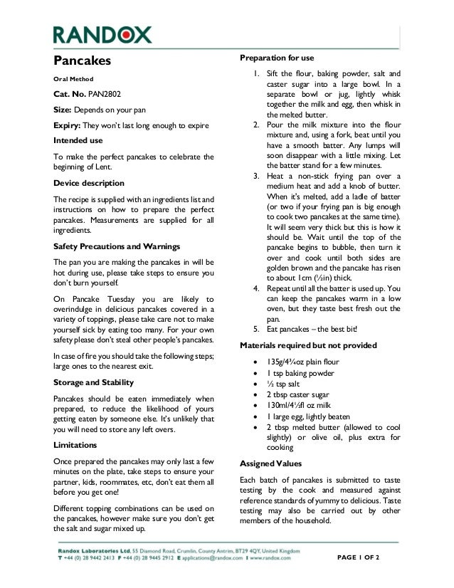 PAGE 1 OF 2 Pancakes Oral Method Cat. No. PAN2802 Size: Depends on your pan Expiry: They won't last long enough to expire ...