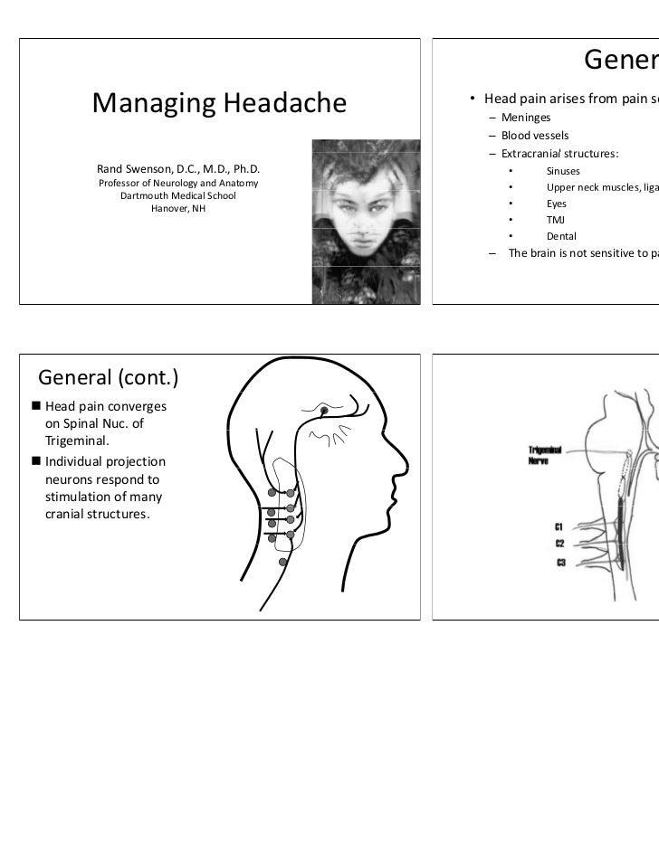 General          Managing Headache              g g                               • Head pain arises from pain sensitive s...