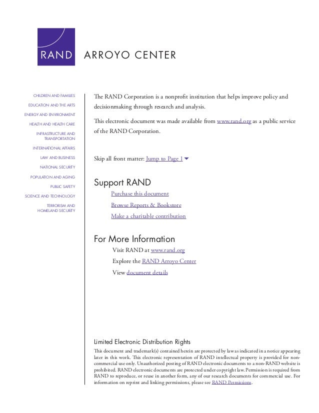 For More Information Visit RAND at www.rand.org Explore the RAND Arroyo Center View document details Support RAND Purchase...
