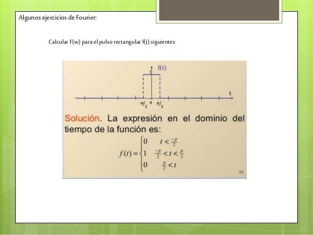 Algunos ejercicios deFourier: CalcularF(w) para el pulso rectangularf(t) siguientes