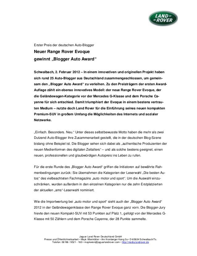 Jaguar Land Rover Deutschland GmbH Presse und Öffentlichkeitsarbeit • Mayk Wienkötter • Am Kronberger Hang 2a • D-65824 Sc...