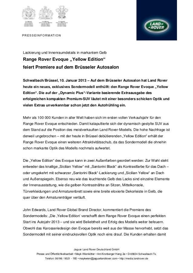 """Lackierung und Innenraumdetails in markantem GelbRange Rover Evoque """"Yellow Edition""""feiert Premiere auf dem Brüsseler Auto..."""