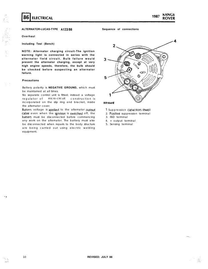 range rover maunual electrics rh slideshare net 1997 range rover alternator wiring range rover classic alternator wiring