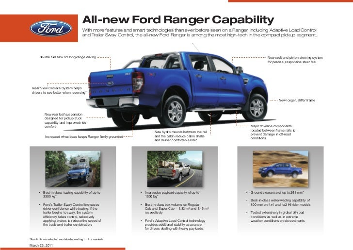 All-new Ford Ranger Capability                                      With more features and smart technologies than ever be...