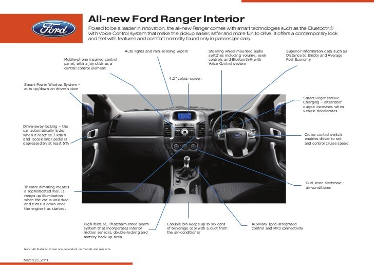 All-new Ford Ranger Interior                                             Poised to be a leader in innovation, the all-new ...