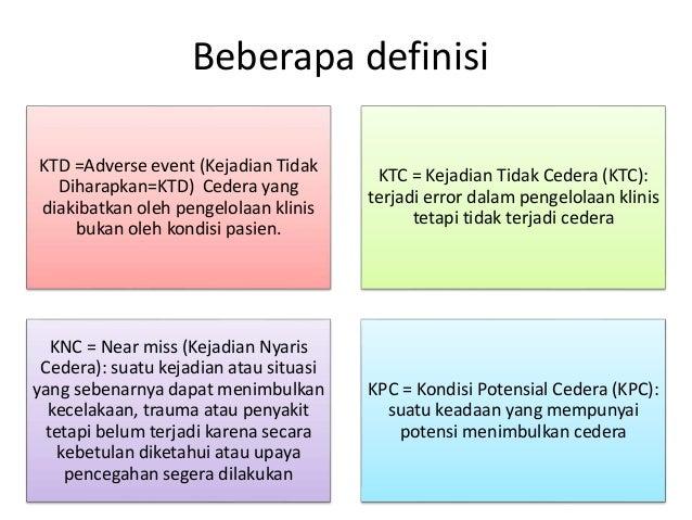 Beberapa definisi KTD =Adverse event (Kejadian Tidak Diharapkan=KTD) Cedera yang diakibatkan oleh pengelolaan klinis bukan...