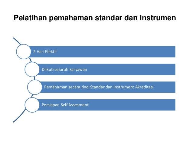 Pelatihan pemahaman standar dan instrumen 2 Hari Efektif Diikuti seluruh karyawan Pemahaman secara rinci Standar dan Instr...