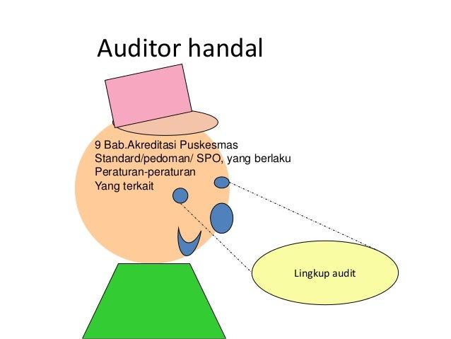 Auditor handal 9 Bab.Akreditasi Puskesmas Standard/pedoman/ SPO, yang berlaku Peraturan-peraturan Yang terkait Lingkup aud...