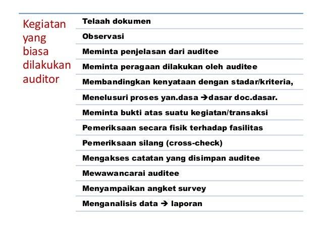 Kegiatan yang biasa dilakukan auditor Telaah dokumen Observasi Meminta penjelasan dari auditee Meminta peragaan dilakukan ...