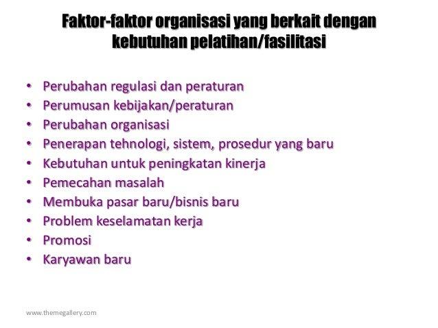 www.themegallery.com Faktor-faktor organisasi yang berkait dengan kebutuhan pelatihan/fasilitasi • Perubahan regulasi dan ...