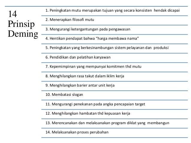 14 Prinsip Deming 1. Peningkatan mutu merupakan tujuan yang secara konsisten hendak dicapai 2. Menerapkan filosofi mutu 3....