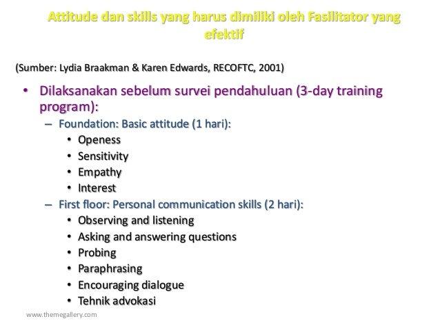 www.themegallery.com Attitude dan skills yang harus dimiliki oleh Fasilitator yang efektif • Dilaksanakan sebelum survei p...