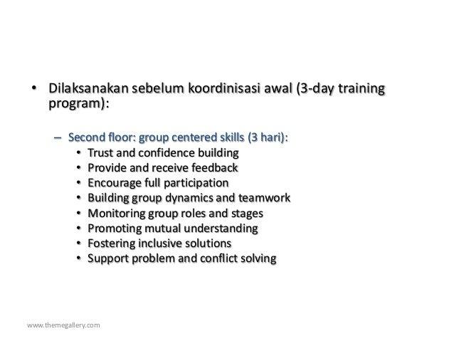 www.themegallery.com • Dilaksanakan sebelum koordinisasi awal (3-day training program): – Second floor: group centered ski...