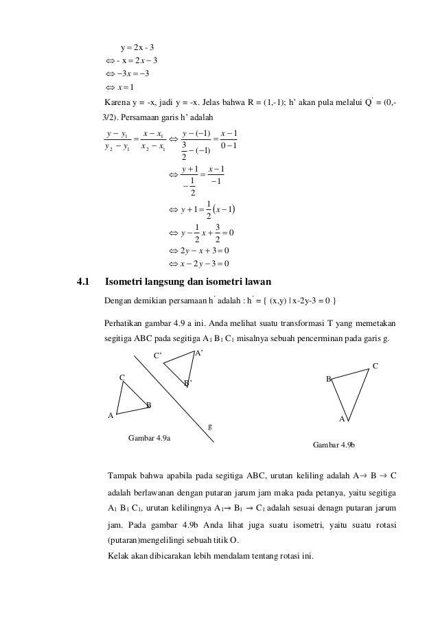 1 33 32x- 3-2xy     x x x Karena y = -x, jadi y = -x. Jelas bahwa R = (1,-1); h' akan pula melalui Q' = (0,- 3/2...