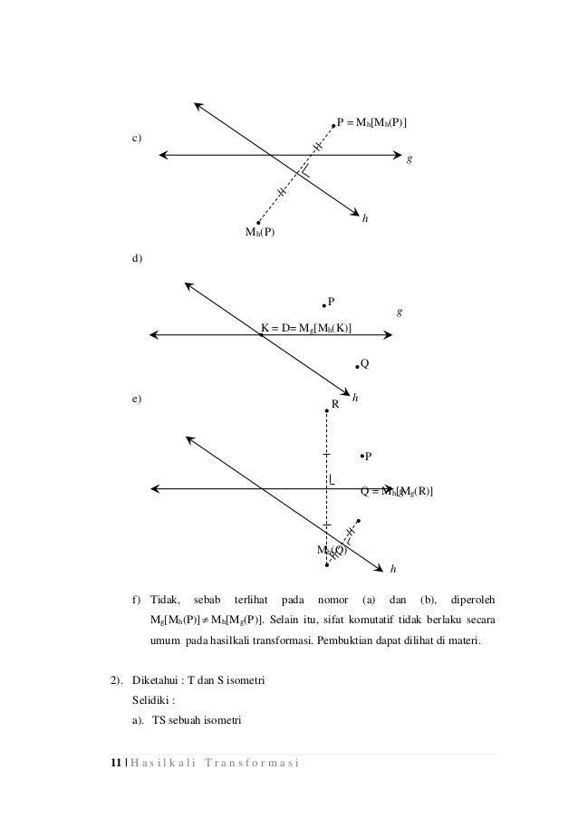 11 | H a s i l k a l i T r a n s f o r m a s i g Q P h K = D= Mg[Mh(K)] Mh(Q) Q = Mh[Mg(R)] c) d) e) f) Tidak, sebab terli...