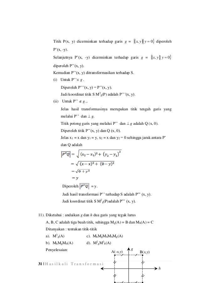 31 | H a s i l k a l i T r a n s f o r m a s i Titik P(x, y) dicerminkan terhadap garis g =   0, yyx diperoleh P'(x, ...