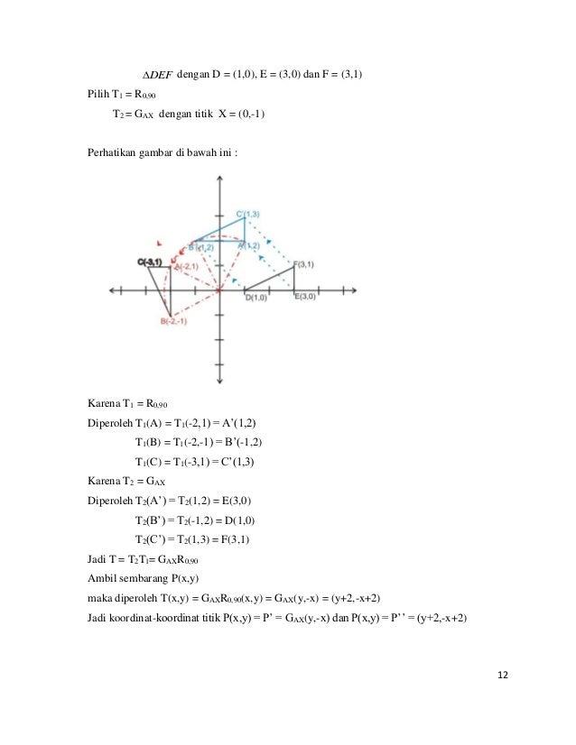 12 DEF dengan D = (1,0), E = (3,0) dan F = (3,1) Pilih T1 = R0,90 T2 = GAX dengan titik X = (0,-1) Perhatikan gambar di b...